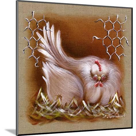 Poule Yeux Fermes-Stephanie Holbert-Mounted Art Print