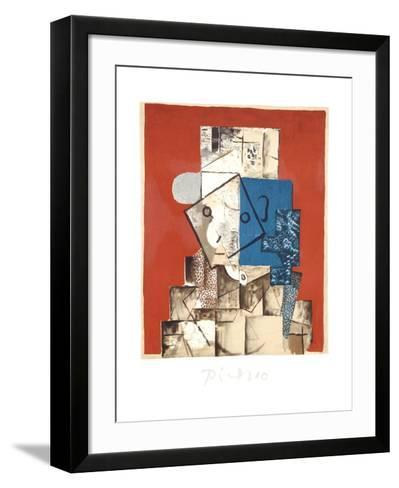 Visage sur Fond Rouge-Pablo Picasso-Framed Art Print