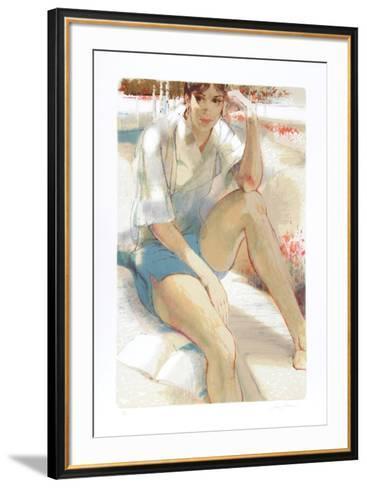 Seated in Garden-Jim Jonson-Framed Art Print