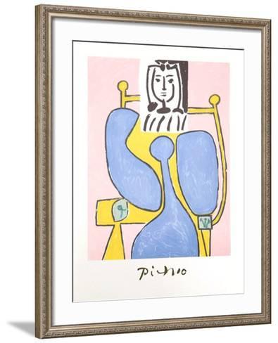 Femme Assise a la Robe Bleue-Pablo Picasso-Framed Art Print