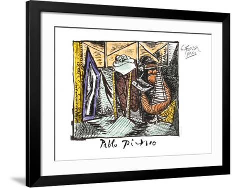 Femme Dessinant Femme Assoupie-Pablo Picasso-Framed Art Print