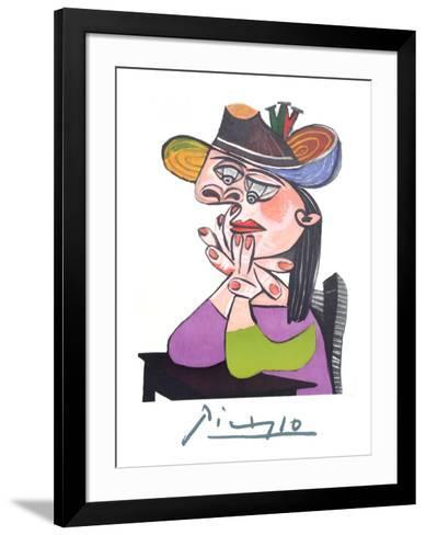 Femme Accoudee En Robe Mauve Et an Drapeau-Pablo Picasso-Framed Art Print