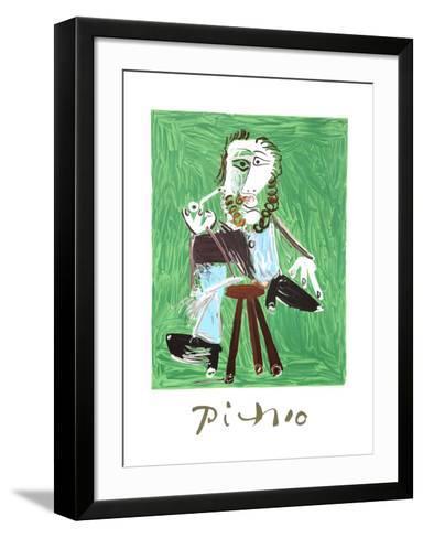 Homme A La Pipe Assise Sur Un Tabouret-Pablo Picasso-Framed Art Print