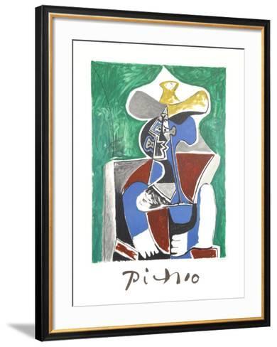 Buste au Chapeau Jaune et Gris-Pablo Picasso-Framed Art Print