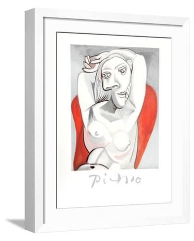 Femme au fauteuil rouge-Pablo Picasso-Framed Art Print