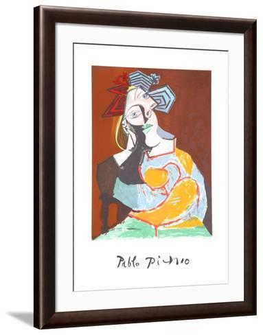 Femme Accoudee au Drapeau Bleu et Rouge-Pablo Picasso-Framed Art Print