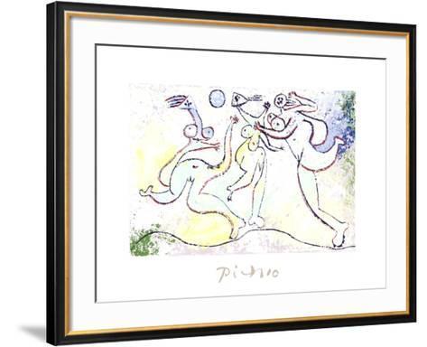 Trois Femmes Jouant au Ballon Sur La Plage-Pablo Picasso-Framed Art Print