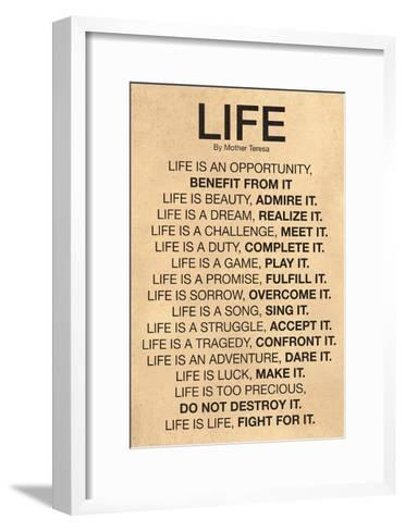 Mother Teresa Life Quote Poster--Framed Art Print