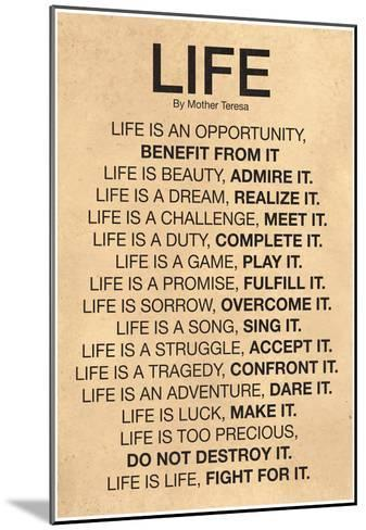 Mother Teresa Life Quote Poster--Mounted Poster