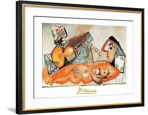 Laying Nude and Musician-Pablo Picasso-Framed Art Print