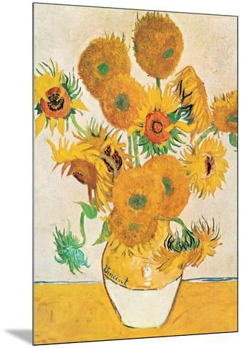 Vase with Fifteen Sunflowers-Vincent van Gogh-Mounted Art Print