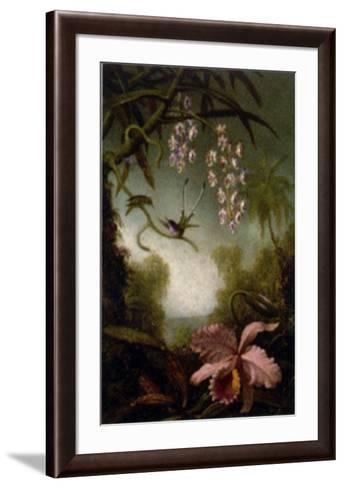 Orchids and Spray Orchids with Hummingbirds-Martin Johnson Heade-Framed Art Print