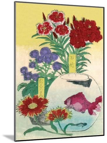 Flowers and Fishbowl--Mounted Art Print