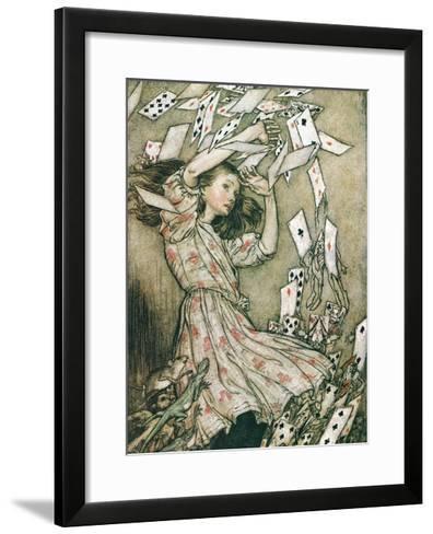 Alice & Pack of Cards-Arthur Rackham-Framed Art Print