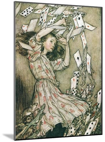 Alice & Pack of Cards-Arthur Rackham-Mounted Art Print