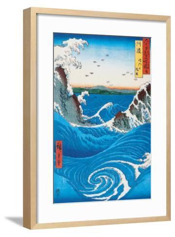 Rough Sea at Naruto in Awa Province-Ando Hiroshige-Framed Art Print