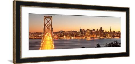 Bay Bridge at Sunset and Twilight Time-San Francisco-Somchaij-Framed Art Print