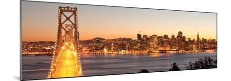 Bay Bridge at Sunset and Twilight Time-San Francisco-Somchaij-Mounted Art Print