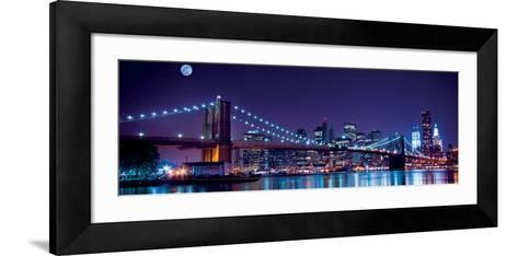 Brooklyn Bridge and Manhattan Skyline with a Full Moon Overhead-New York-Littleny-Framed Art Print