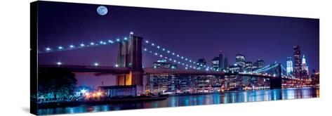 Brooklyn Bridge and Manhattan Skyline with a Full Moon Overhead-New York-Littleny-Stretched Canvas Print