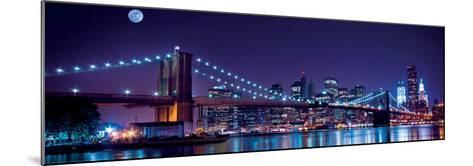 Brooklyn Bridge and Manhattan Skyline with a Full Moon Overhead-New York-Littleny-Mounted Art Print