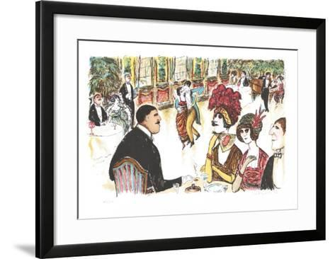 Cafe with Tango Dancers-Edward Plunkett-Framed Art Print