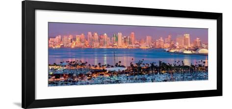 San Diego Skyline at Night and Marina-Andy Z-Framed Art Print