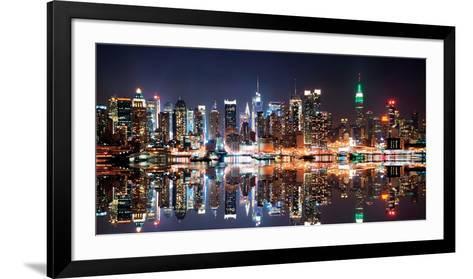 New York City Skyline at Night-Deng Songquan-Framed Art Print