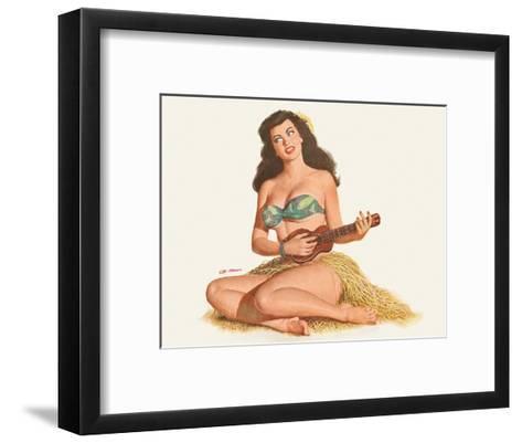 Pin Up Girl Playing Ukelele c.1951-Al Moore-Framed Art Print
