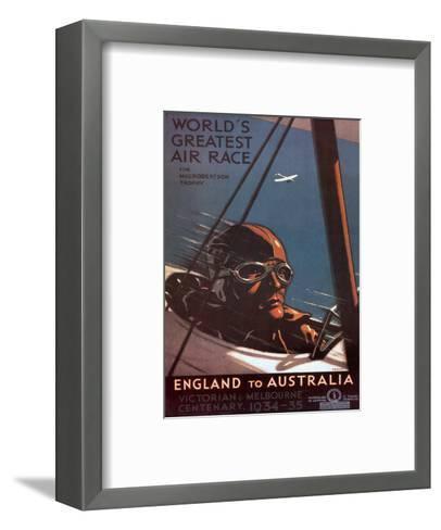 Air Race, England to Australia c.1934-Percy Trompf-Framed Art Print