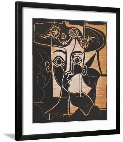 Large Woman's Head with decorated Hat-Pablo Picasso-Framed Art Print
