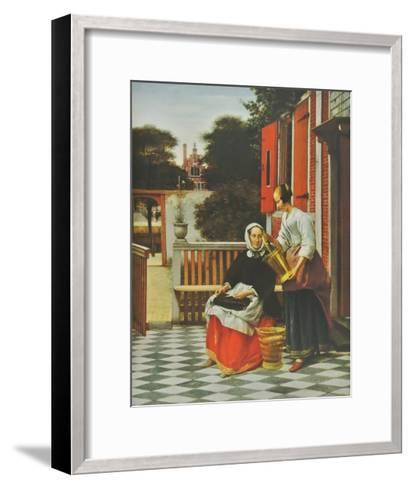 A Lady and her Maid-Pieter Hooch-Framed Art Print
