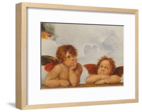 Sistine Madonna - Two Angels (Detail)-Raphael-Framed Art Print