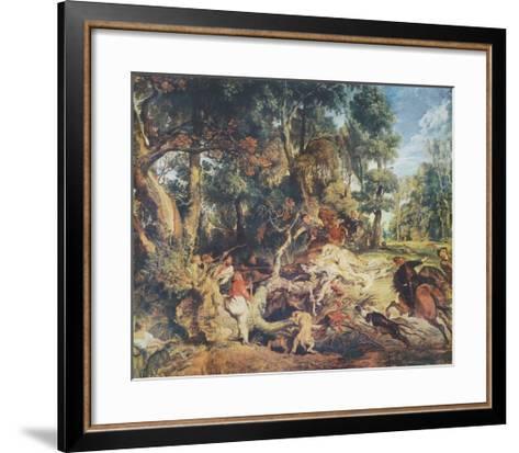 The Wild Boar Hunt-Peter Paul Rubens-Framed Art Print