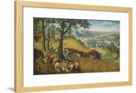Summer Landscape with Corn Harvest-Lucas Valckenborgh-Framed Art Print