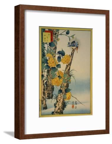 Kingfisher and Gold-Nettle-Sugakudo-Framed Art Print
