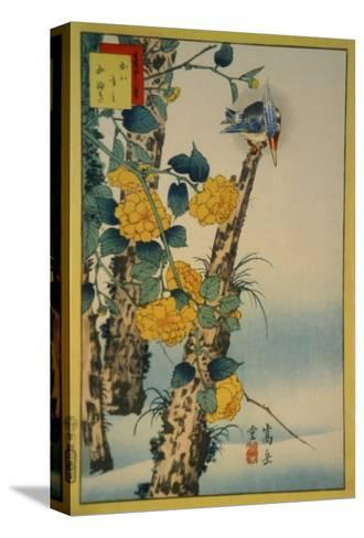 Kingfisher and Gold-Nettle-Sugakudo-Stretched Canvas Print