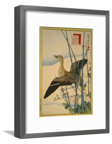 Snipe, Smooth Cane and Morning Glory-Sugakudo-Framed Art Print