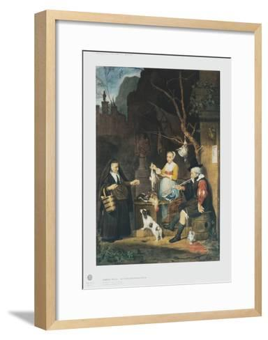 The Poultry Vendor, Young Woman-Gabriel Metsu-Framed Art Print