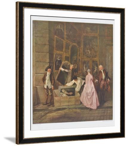 The Art Dealer Gersaint's Sign Board (left part)-Antoine Watteau-Framed Art Print