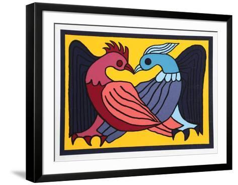Two Kissing Doves-Victor Delfin-Framed Art Print