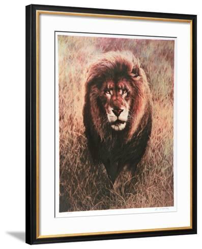 Stalking Lion-Nancy Glazier-Framed Art Print