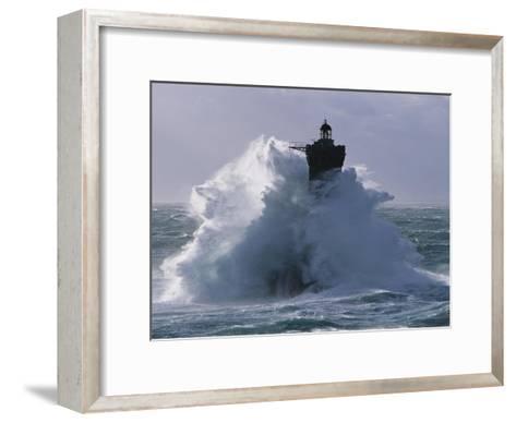 Phare du Four lors d'une tempete-Jean Guichard-Framed Art Print
