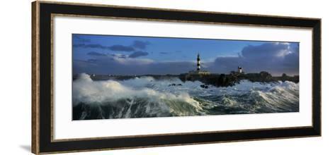 Phare du Creac'h lors d'une tempete-Jean Guichard-Framed Art Print