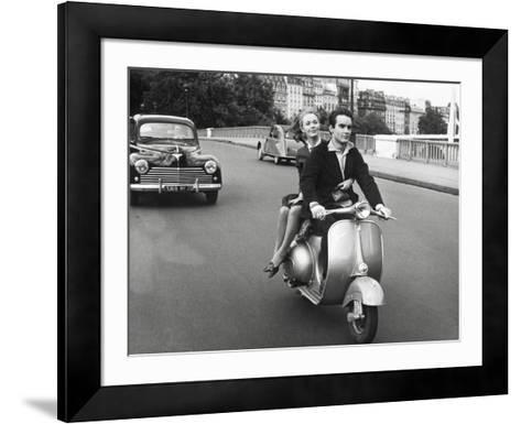 On Motorscooter--Framed Art Print