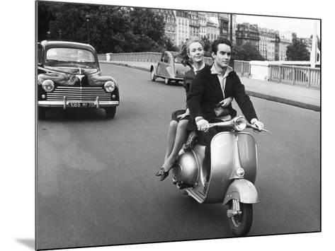 On Motorscooter--Mounted Art Print