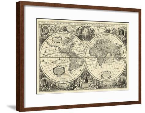 Vintage World Map--Framed Art Print
