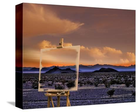 Easel in Nevada Sunset-Richard Desmarais-Stretched Canvas Print