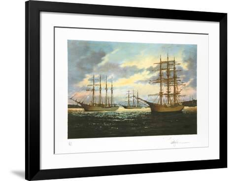 Tall ships at rest-Eldred Clark Johnson-Framed Art Print