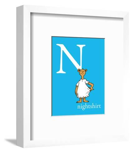 N is for Nightshirt (blue)-Theodor (Dr. Seuss) Geisel-Framed Art Print